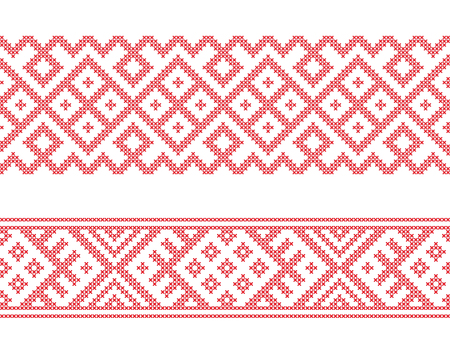 Slavic ethnic borders, seamless pattern, cross stitch embroidery style. Pattern brushes are included. Standard-Bild - 115012838