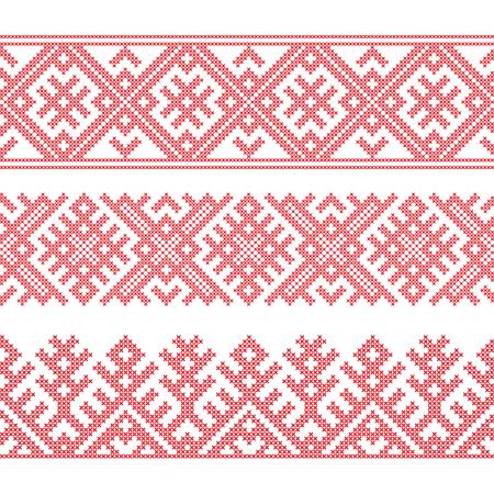 Slavische etnische grenzen, naadloos patroon, borduurstijl met kruissteek. Patroonborstels zijn inbegrepen.