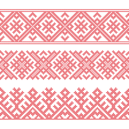 Slavic ethnic borders, seamless pattern, cross stitch embroidery style. Pattern brushes are included.