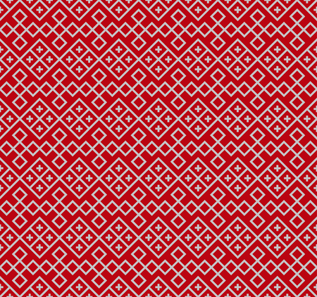 Seamless Slavic ethnic pattern on saturated red backdrop. The swatch is included.