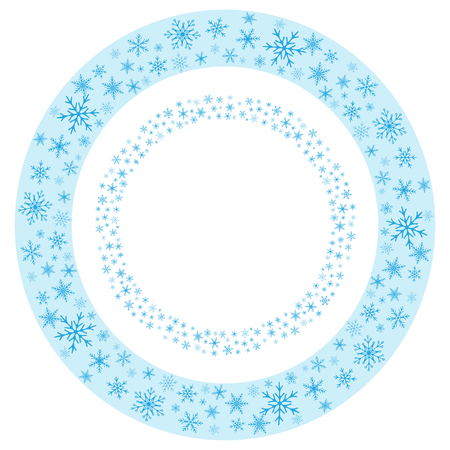Round seamless frames of realistic snowflakes.