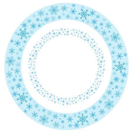 Round seamless frames of realistic snowflakes.