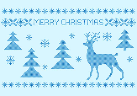 Christmas poster, cross-stitch embroidery style. Hues of blue.