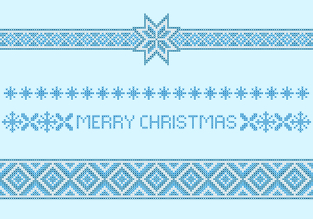 Christmas patterns, borders. Cross-stitch embroidery style. Blue and white colors. Archivio Fotografico - 115012918