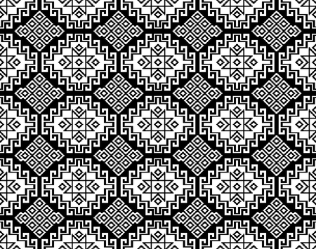 Seamless black geometric ethnic pattern. Traditional Asian kilim style. Stock fotó - 115012919