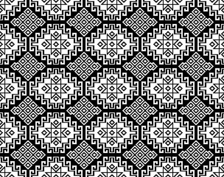 Seamless black geometric ethnic pattern. Traditional Asian kilim style. Illustration