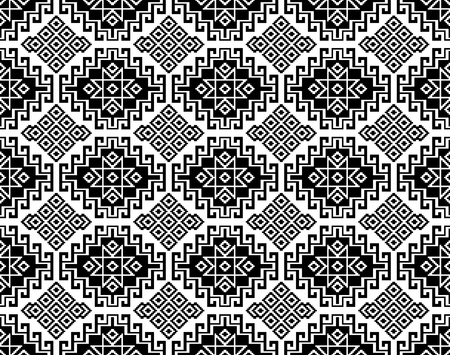 Seamless black geometric ethnic pattern. Traditional Asian kilim style. 矢量图像