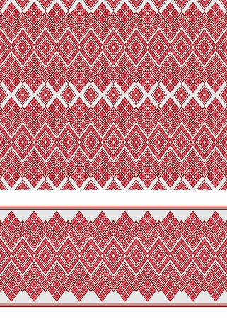 Seamless geometric ethnic pattern and border. Traditional Eastern Asian style. Illustration