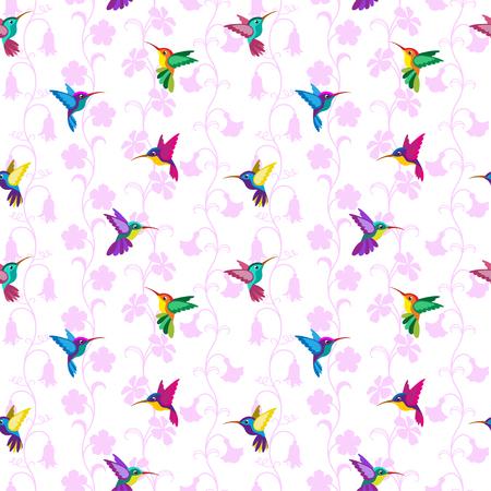 Nahtloses Muster mit Kolibris und Blumen. Getrennter weißer Hintergrund.
