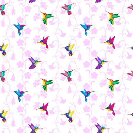 Seamless pattern with hummingbirds and flowers. Separated white background.