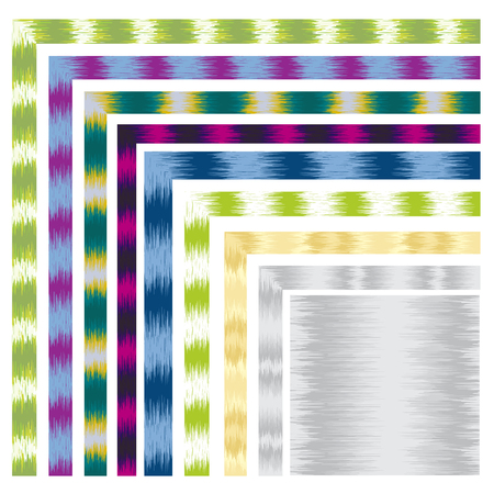Seamless abstract border corners. Random lines, zigzags. Oriental fabric style.