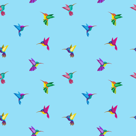 Seamless pattern with hummingbirds of various colors. Background is isolated from pattern.