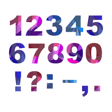 Colorful bold numbers and punctuation marks with polygonal effect.