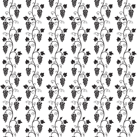Seamless black pattern on separated white background. Vines of grape tree, bunches, grape leaves, swirls.