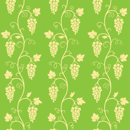 Seamless pattern on separated green background. Vines of grape tree, bunches, grape leaves, swirls.