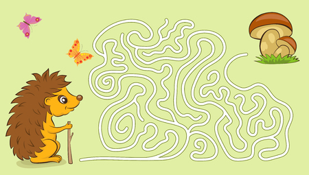 Maze game for kids with hedgehog and mushrooms.
