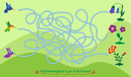 Maze game for kids. Help hummingbirds to get to the flowers.