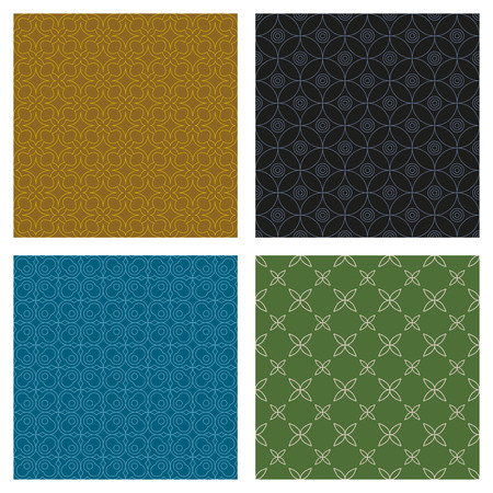 Set of seamless geometric patterns. Various color lines on saturated backgrounds.