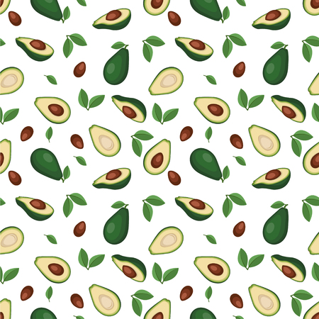 Seamless pattern with avocado fruits and leaves.