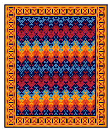 Seamless geometric ethnic pattern in frame. Turkish kilim style. Vivid, saturated colors.