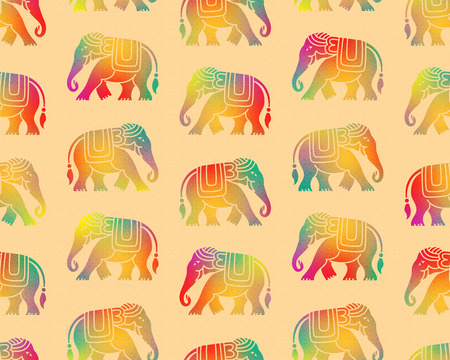 Overlapping seamless patterns. Tribal style elephants and floral textures. Thai, Indian, African symbol. Rainbow, spectrum colors.
