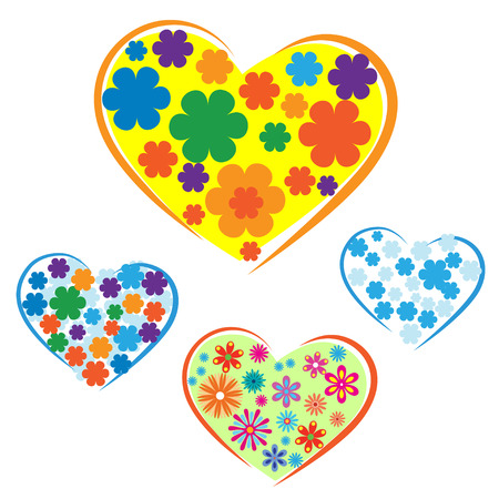 Set of sketches with flowers included in shapes of heart. Logo for inclusive education, concept of equality of different people.