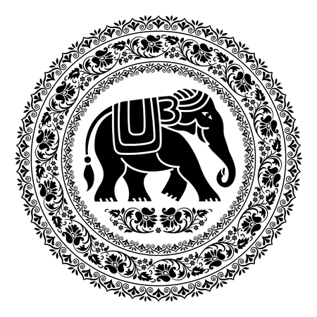 Tribal style elephant in round floral frames. Only black. Ethnic poster, mandala style. Thai ornaments and symbol. T-shirt print.