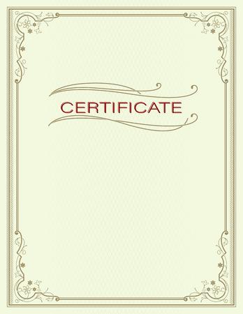 Rectangular ornate framework. Decorative floral corners. Vignettes and lettering Certificate. Letter print paper proportions.