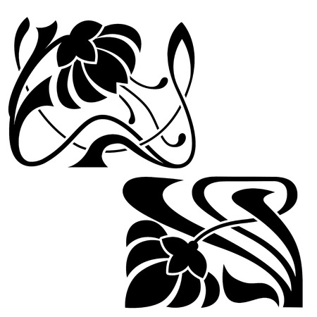 Art Nouveau style decorative elements. Stylized flowers as headers or corners. Stencils.