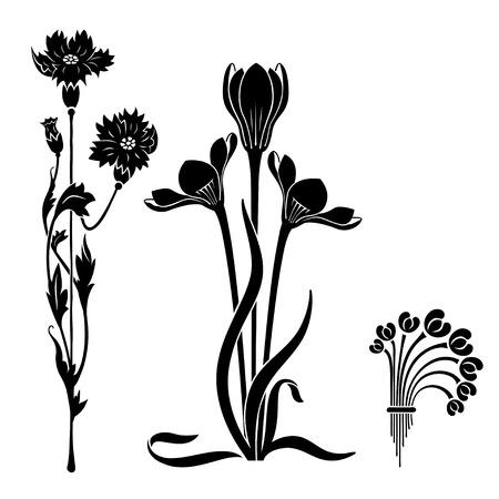 Elementos decorativos de estilo Art Nouveau. Flores estilizadas negras. Plantillas. Ilustración de vector