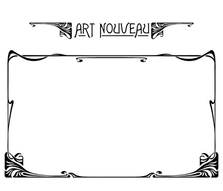 Rectangular black retro framework and decorative element. Art Nouveau style. Ilustração