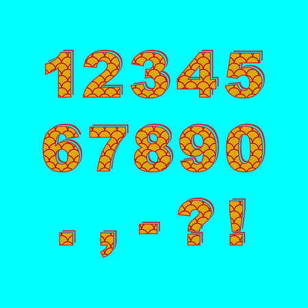 Decorative numbers and punctuation marks. Saturated fish scale pattern. Çizim