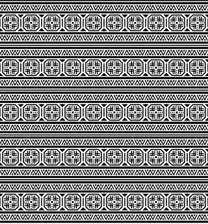 Seamless black geometric ethnic pattern. Bulgarian, Central European style.