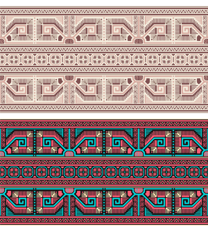 Seamless geometric ethnic patterns. Bulgarian, Central European style. Different color groups.