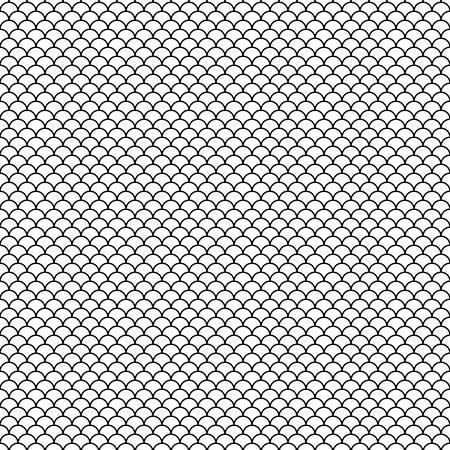 Czarny abstrakcyjny wzór. Rybia łuska. Styl japoński. Próbka jest zawarta w pliku EPS. Ilustracje wektorowe