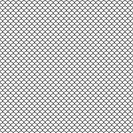 Seamless black abstract pattern. Fish scale. Japanese style. Swatch is included in EPS file. Vektoros illusztráció