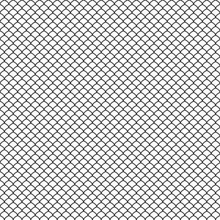 Motif abstrait noir sans couture. Écaille de poisson. Style japonais. Swatch est inclus dans le fichier EPS. Vecteurs