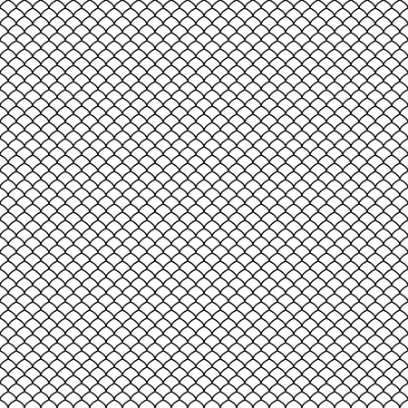 Patrón abstracto negro transparente. Escamas de pescado. Estilo japones. Swatch se incluye en un archivo EPS. Ilustración de vector