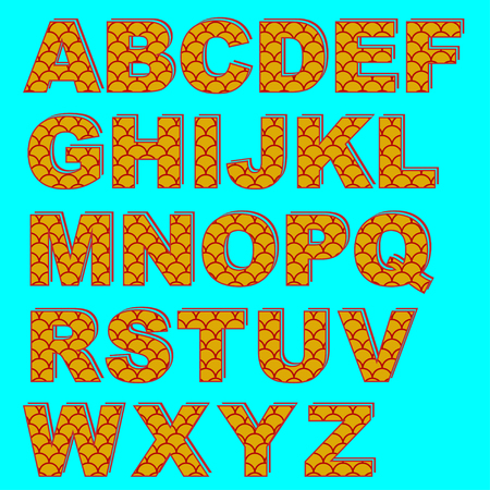 Decorative capital English letters. Saturated fish scale pattern.
