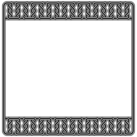Black and white square frames. Interlaced lines. Based on Georgian, Armenian, Caucasian, Arabic, Byzantine styles. Pattern brushes included in EPS file.