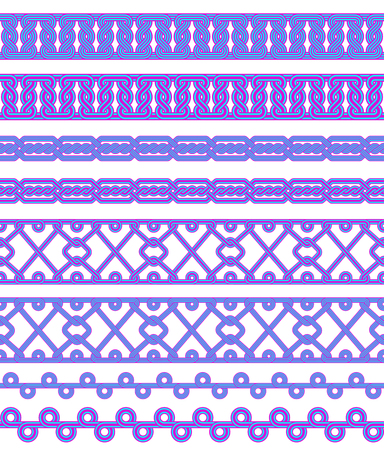 Seamless colored borders. Interlaced lines. Based on Georgian, Armenian, Arabic styles. Pattern brushes included in EPS file. Фото со стока - 120573684