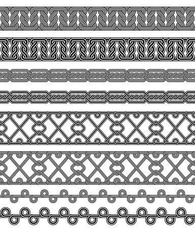 Seamless black and white borders. Interlaced lines. Based on Georgian, Caucasian, Armenian, Arabic styles. Pattern brushes included in EPS file. Illustration