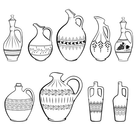 Wine jugs of different shapes and with different patterns.