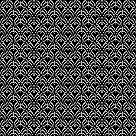Seamless white abstract pattern on separated black background. Swatch included in EPS file. Art Nouveau style.
