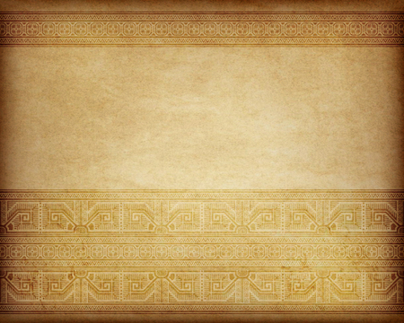 Ethnic pattern on the piece of parchment, aged paper. Bulgarian, Central European style.