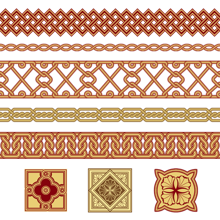Set of floral borders and floral elements. Interlaced lines. Based on Georgian, Armenian, Arabic styles. Pattern brushes included in EPS file.