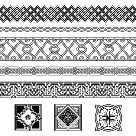 Set of floral corner elements. Interlaced lines. Based on Georgian, Armenian, Arabic styles. Pattern brushes included in EPS file.