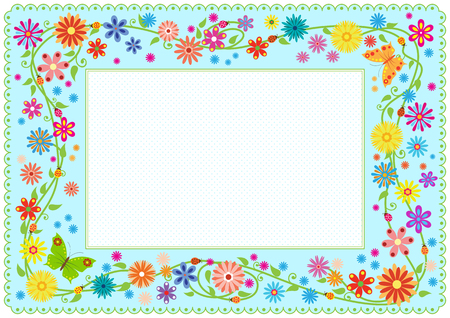 Summer framework with flowers and butterflies Template for card, diploma, certificate for kids. Pattern brush included in EPS file.