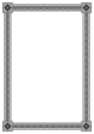 Black and white rectangular framework. Interlaced lines, floral corner elements. Based on Georgian, Armenian, Arabic, Caucasian, Byzantine styles. Pattern brushes included in EPS file.