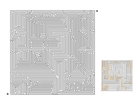 Maze game with solution, high level. For kids and adults.